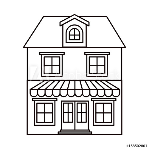 500x500 Monochrome Silhouette Of House With Two Floors With Attic