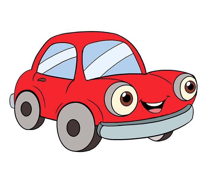 678x600 How To Draw A Cartoon Car Easy Step