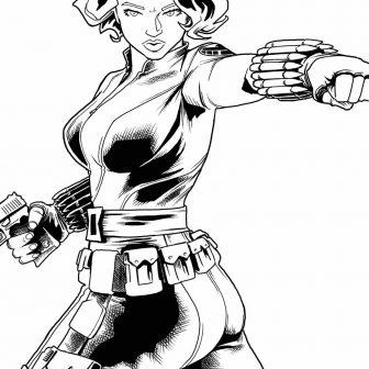 336x336 Black Widow Superhero Drawing Spider Marvel Line Cartoon Chibi