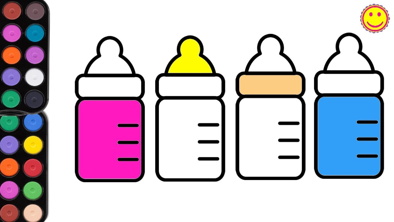 1280x720 Drawing And Coloring Baby Bottles With Paint Brush