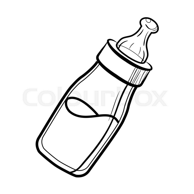 800x800 Sketch Baby Bottle With Milk And Soft Stock Vector Colourbox