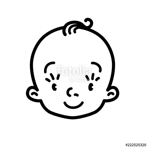 500x500 Baby Icon Face Of Small Boy Or Girl Line Drawing Stock Image