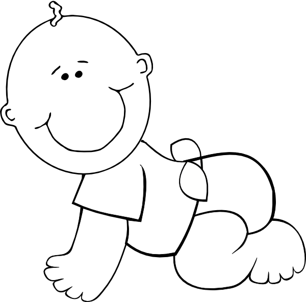 600x592 Crawling Baby Boy Outline Clip Art
