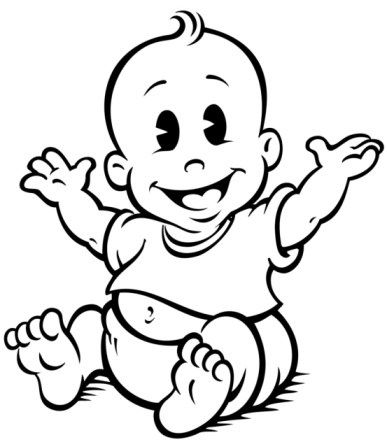 387x442 Baby Boy Clipart Black And White