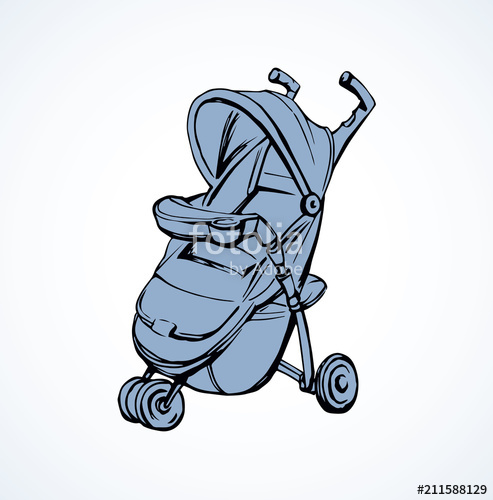 493x500 Baby Carriage Vector Drawing Stock Image And Royalty Free Vector