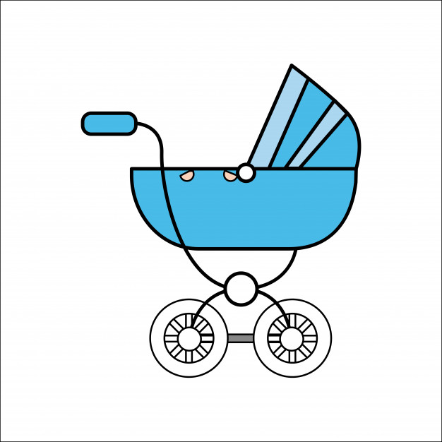 626x626 Blue Baby Carriage Icon Vector Premium Download