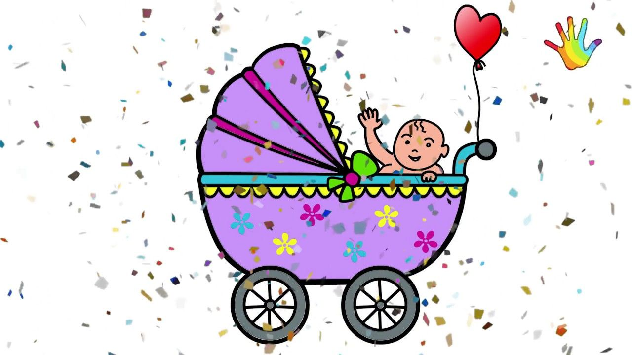 1280x720 How To Draw A Baby Carriage Drawing For Kids Drawing