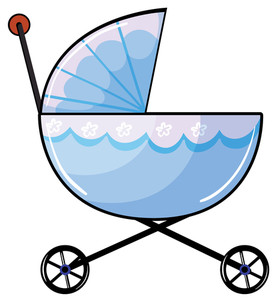 280x300 Illustration Of A Baby Pram On A White Background Royalty Free