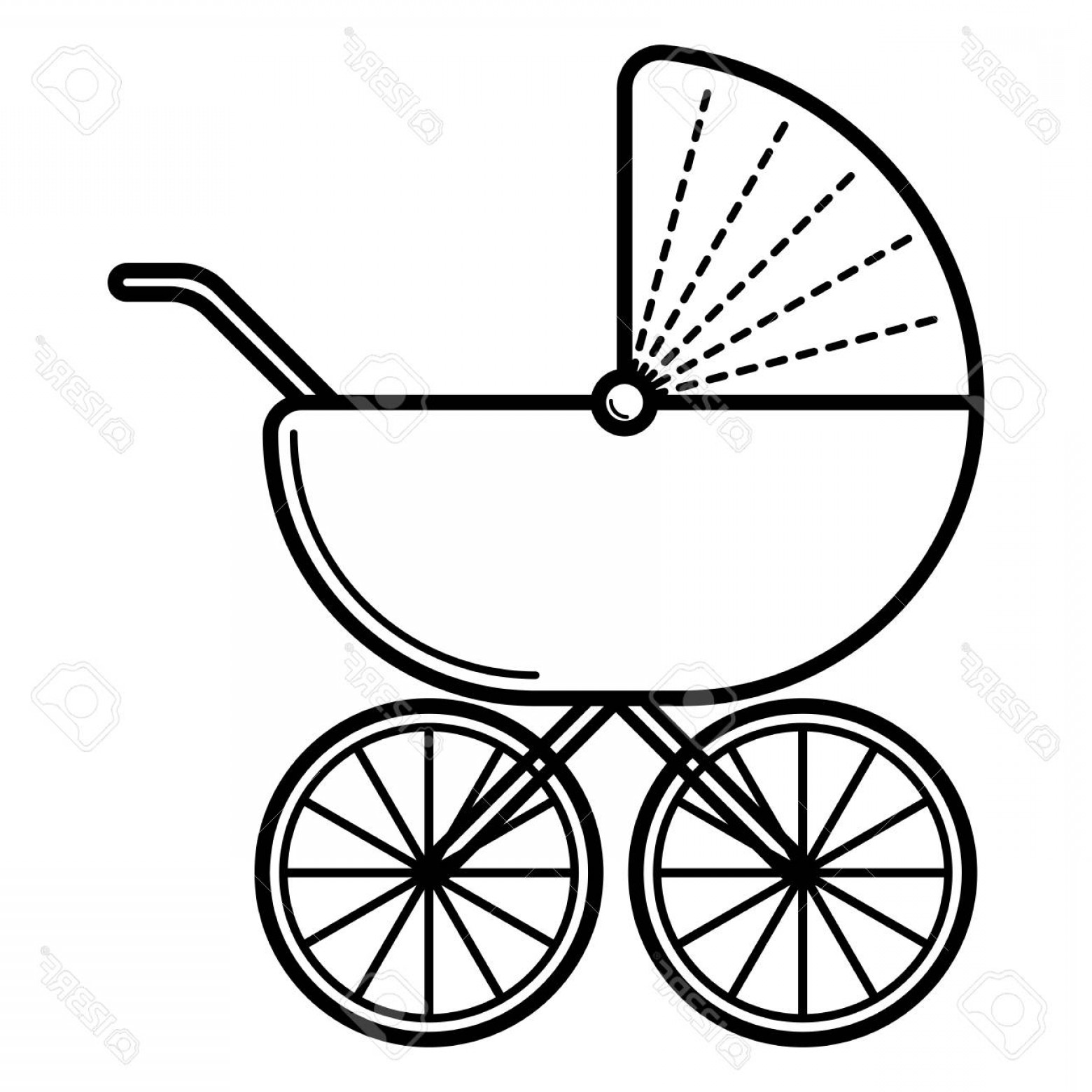 1560x1560 Photostock Vector Stroller Baby Icon On A White Background Line