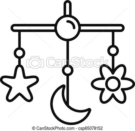 450x438 baby crib toy icon, outline style baby crib toy icon outline