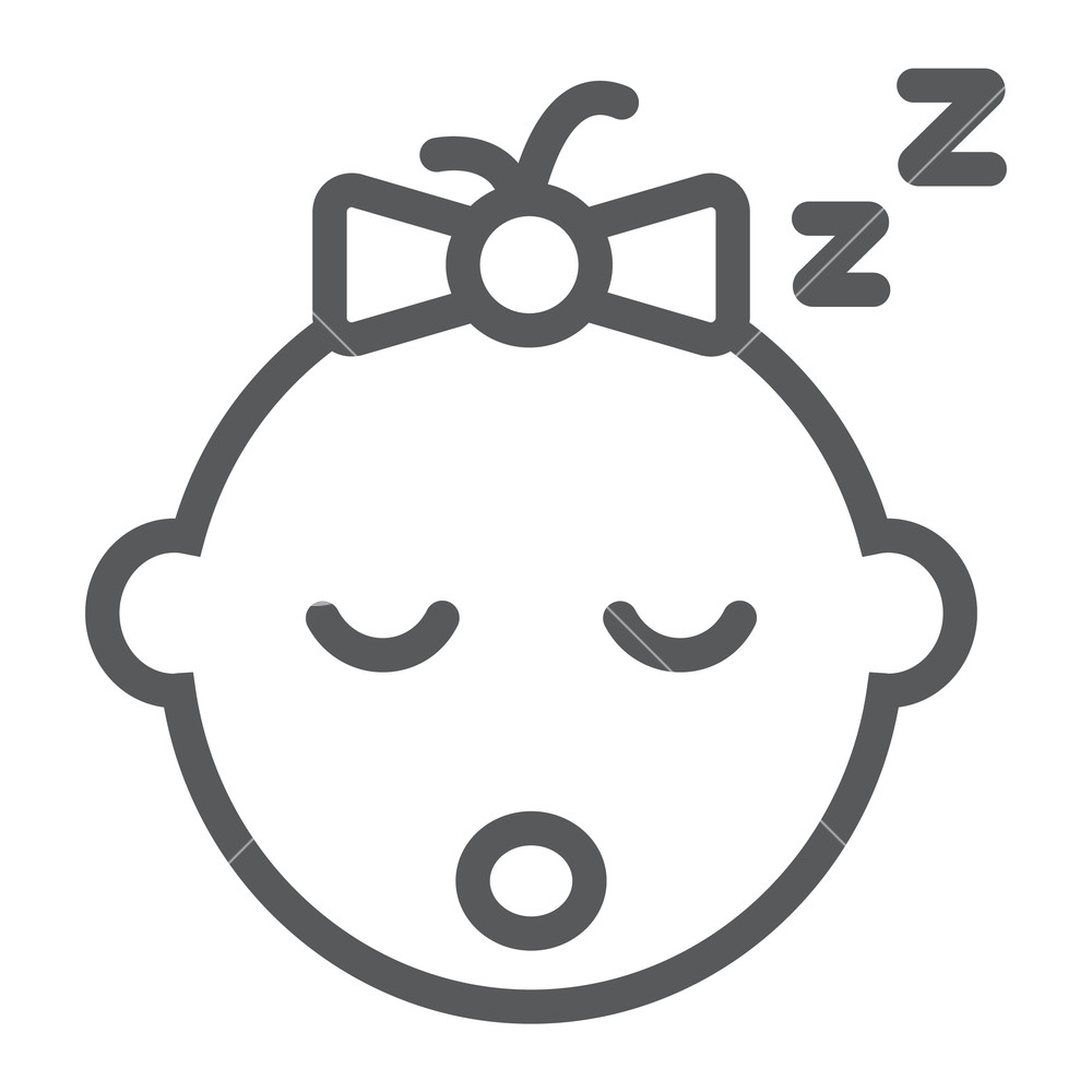 1000x1000 Baby Girl Sleep Line Icon, Child And Face, Girl Sign, Vector