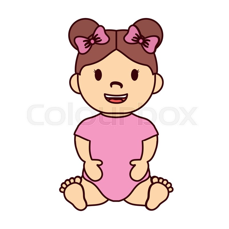 800x800 Cute Baby Girl With Pink Bows, Cartoon Stock Vector Colourbox