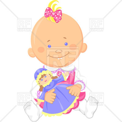 400x400 Cute Smiling Sitting Baby Girl Playing With A Toy Doll Vector