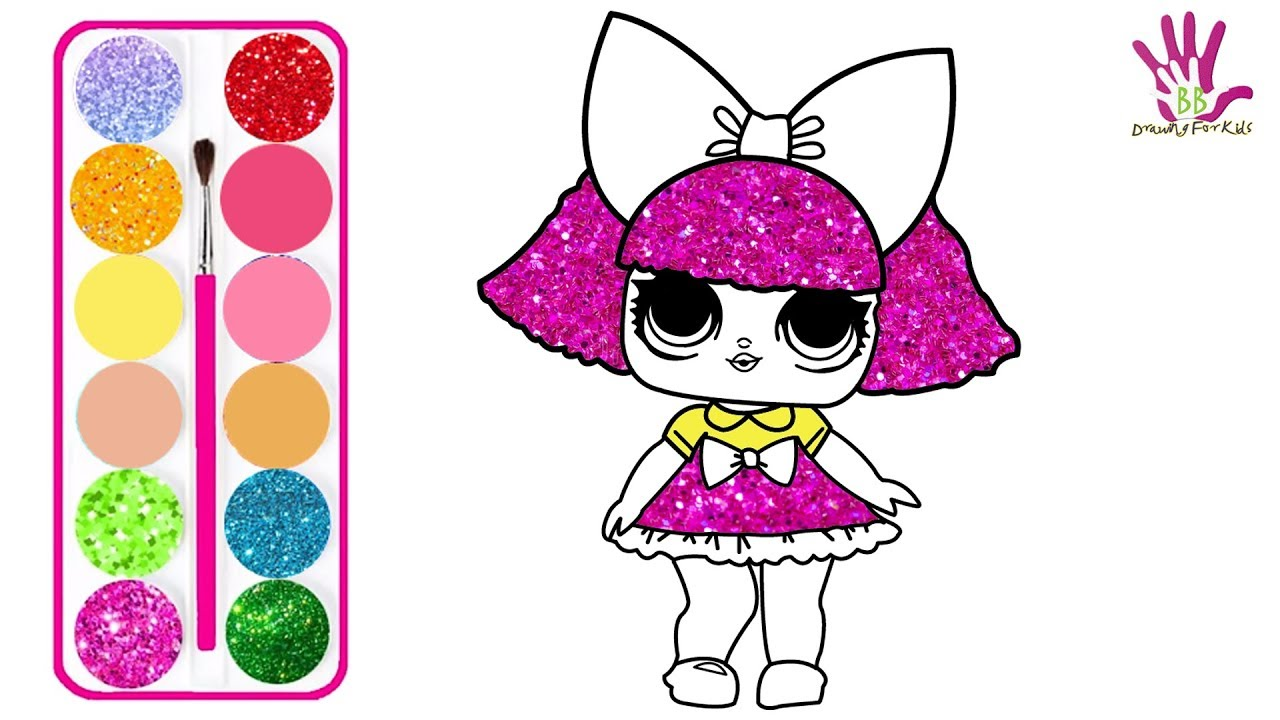 1280x720 Glitter Baby Girl Drawing And Coloring For Kids