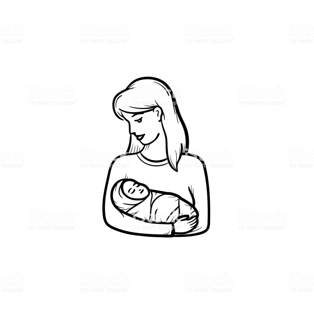 1024x1024 Huge Collection Of 'baby In A Blanket Drawing' Download More Than