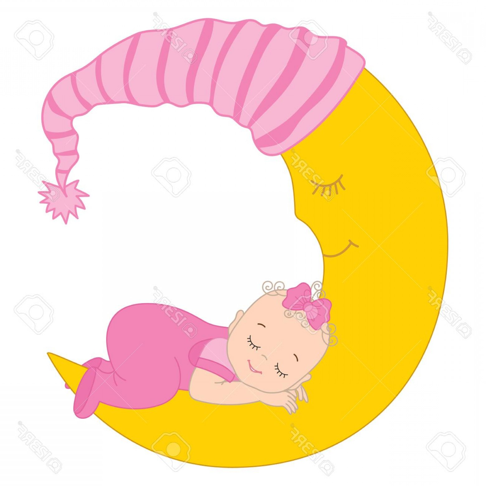1560x1560 Photostock Vector Vector Cute Baby Girl Sleeping On The Moon
