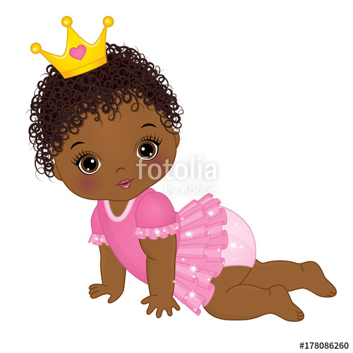 500x500 Vector Cute African American Baby Girl Dressed As Princess Stock