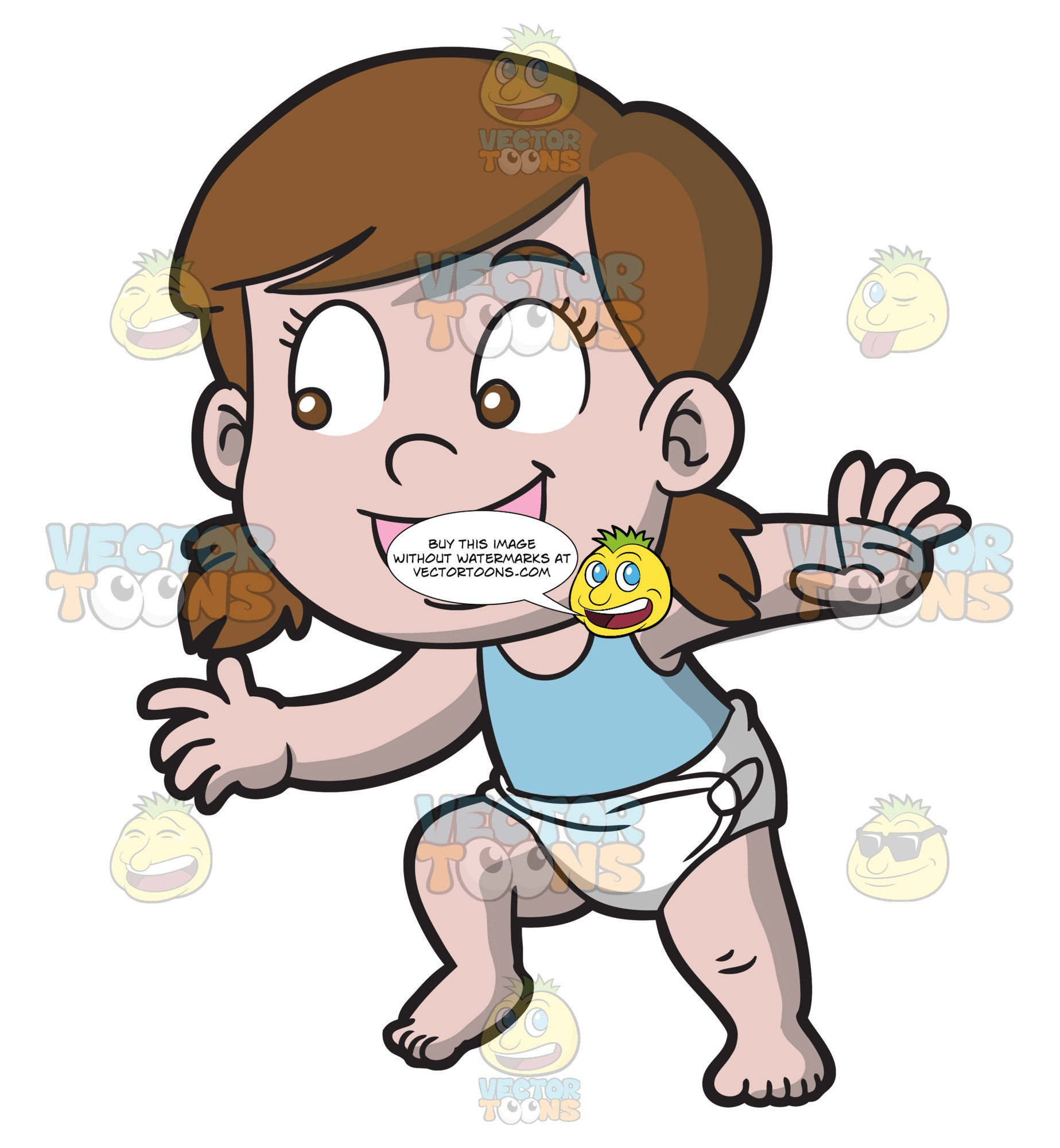 1847x2000 A Happy Baby Girl Trying To Walk Clipart Cartoons