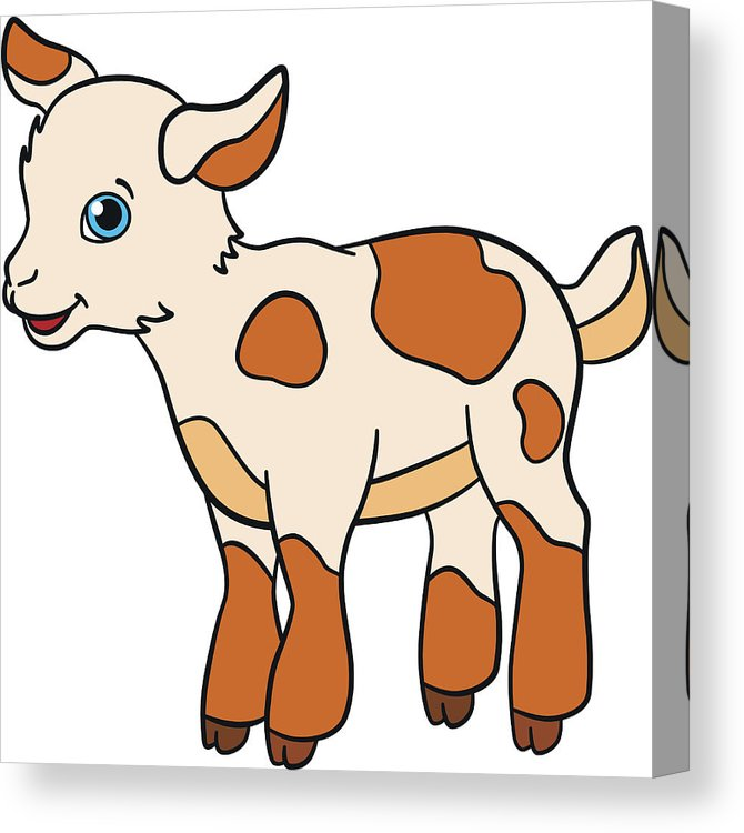 670x750 Cartoon Farm Animals For Kids Little Cute Spotted Baby Goat