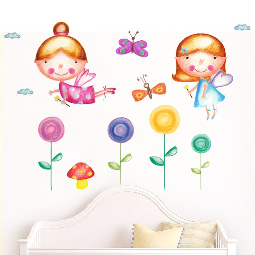 893x892 flower wall decals fairy girl gift fairy baby room fairy etsy