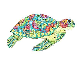 340x270 Sea Turtle Drawing Etsy