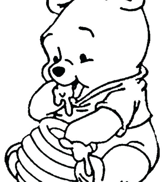 550x600 Drawing Winnie The Pooh The Pooh Holding On To Balloon Coloring