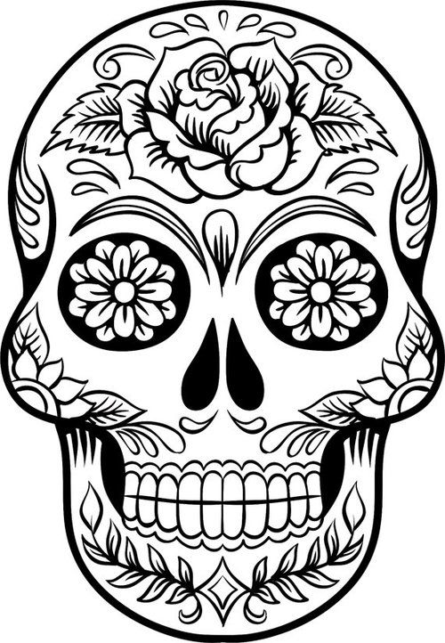500x722 Color Drawing Skull For Free Download