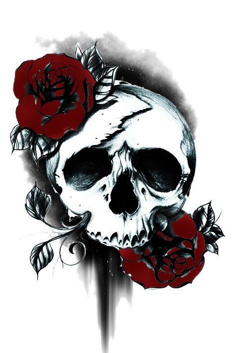 500x709 Skull And Roses Tattoo Inked And Pierced Girly Skull Tattoos
