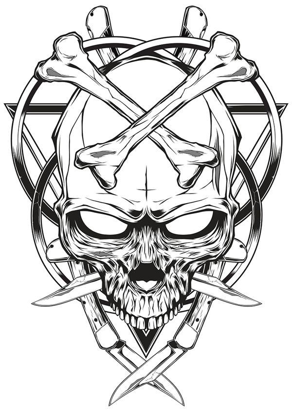 600x848 Skull Knife Illustration