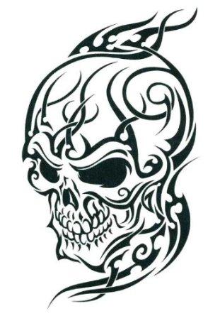 311x445 Cool Tribal Skull Tattoos