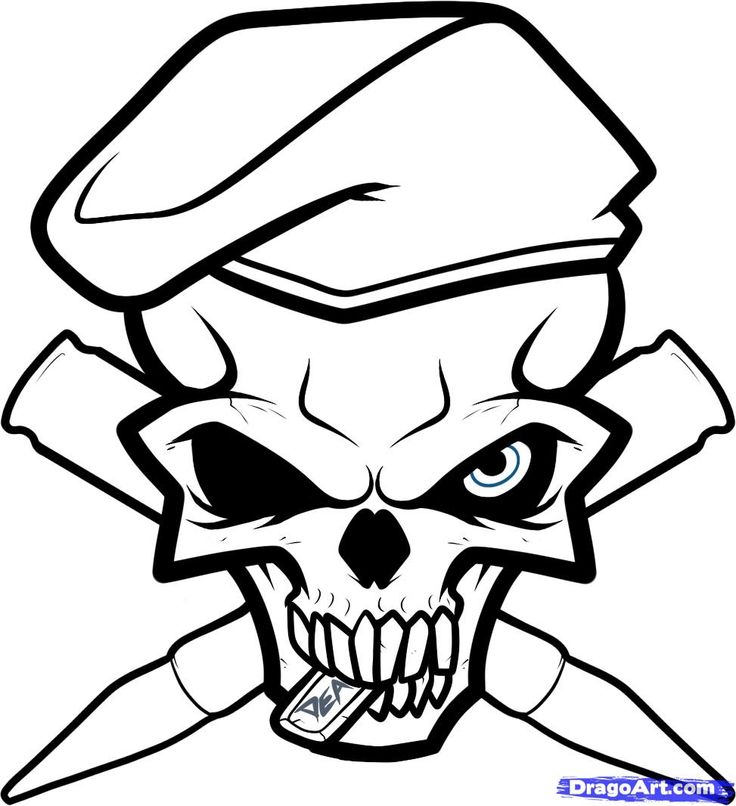 736x806 Bullet Drawing Skull For Free Download