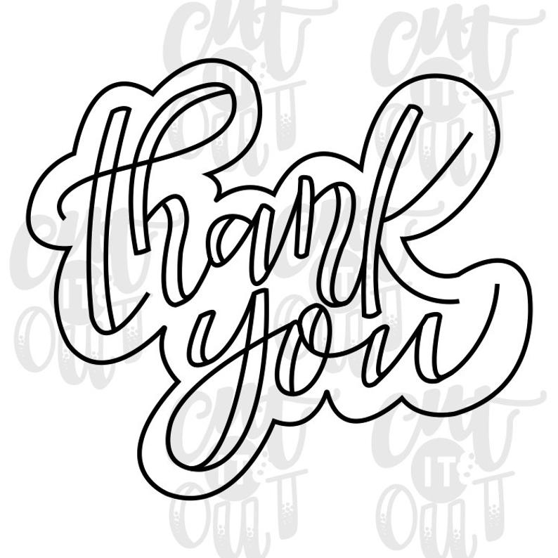 794x794 Thank You Cookie Cutter Thank You Gift Hand Lettered Cookie Etsy