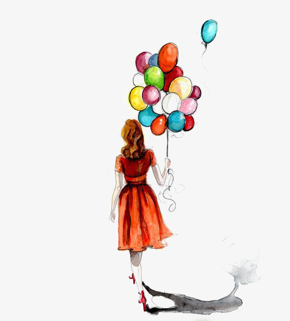564x626 Drawing Balloons, Creative, Street Beat Girls, Drawing Girls Png