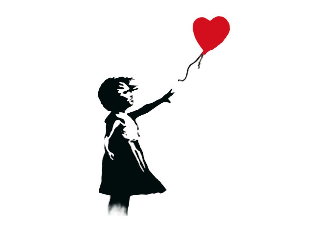 1024x768 Drawn Little Girl Balloon Drawing