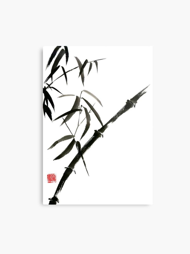 750x1000 Bamboo Japanese Chinese Sumi E Suibokuga Tree Watercolor Original