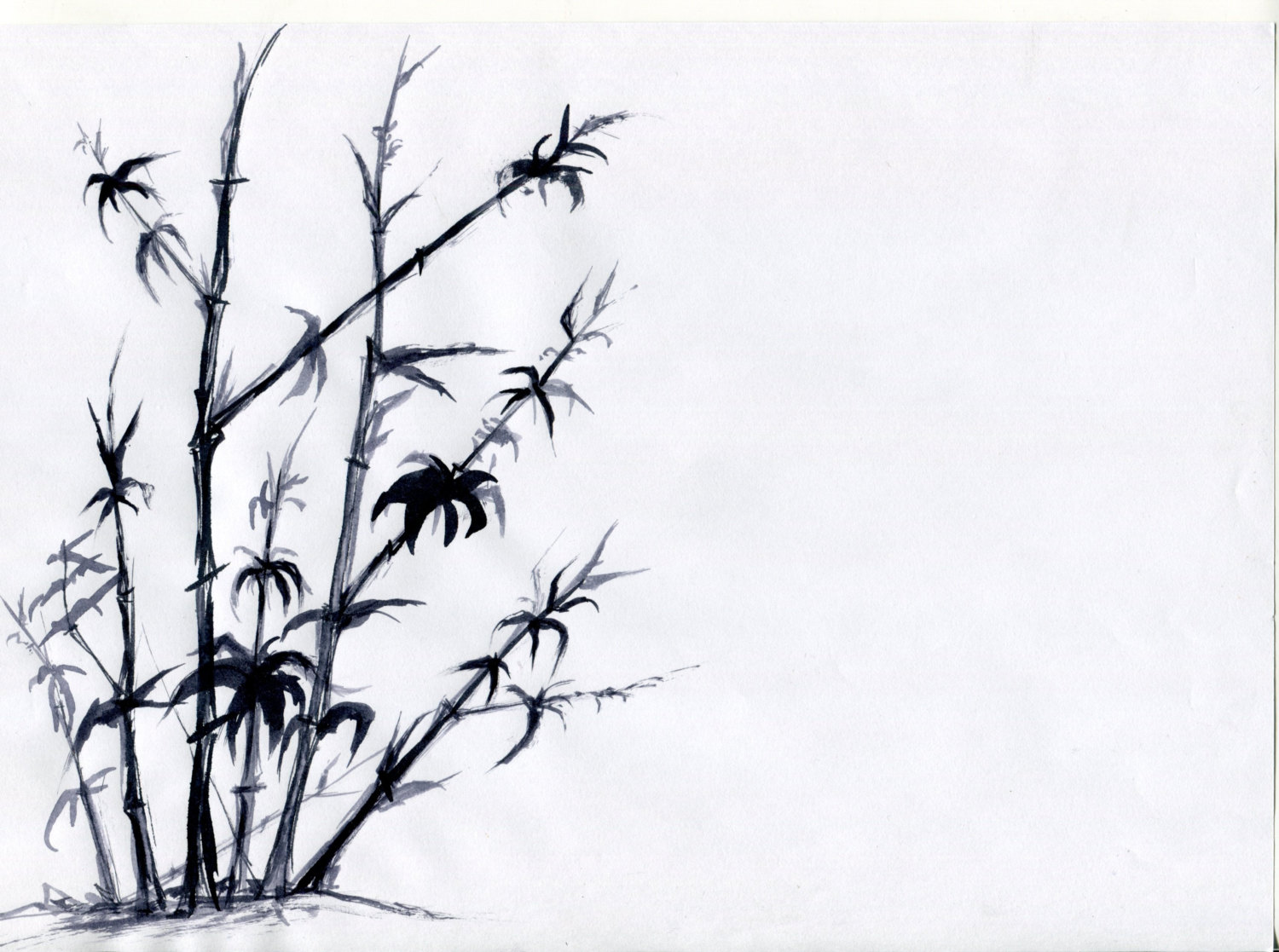 1500x1117 Chinese Drawing A Print Of A Beautiful Bamboo Tree Sized Etsy