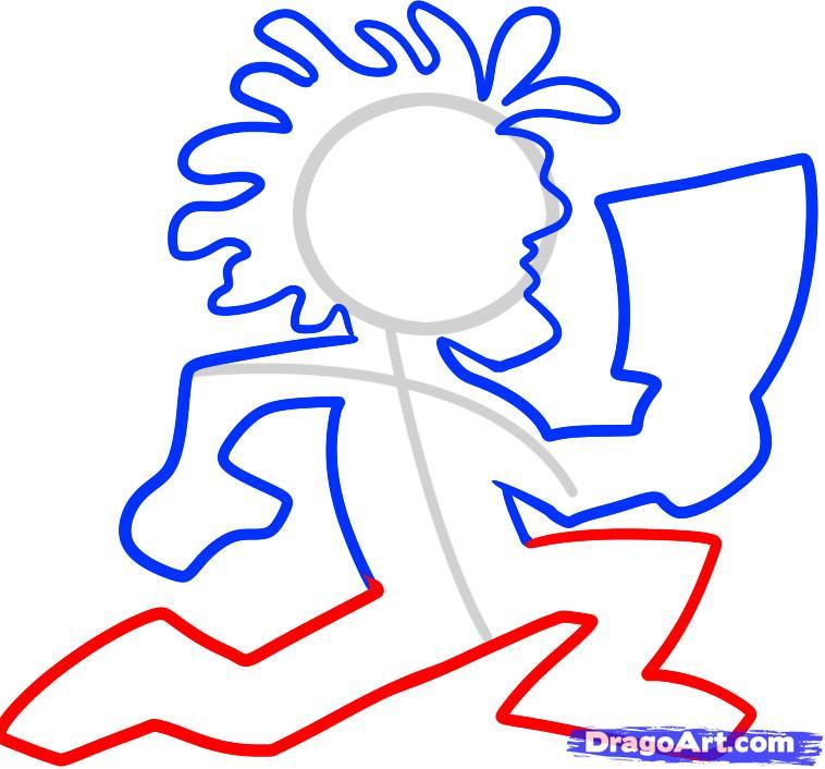 758x706 How To Draw Hatchetman, Insane Clown Posse, Step