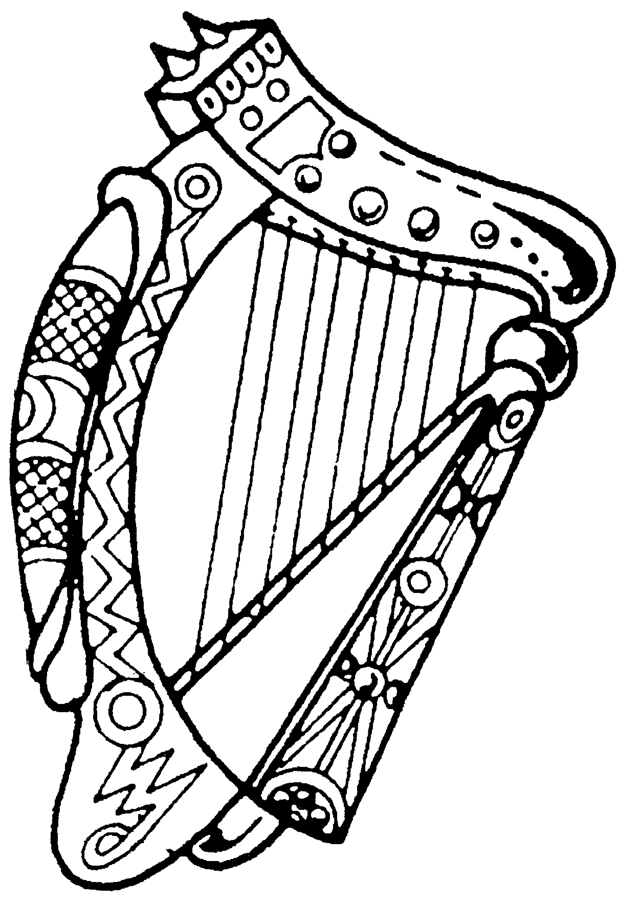 2416x3534 Harp Drawing Band Instrument For Free Download