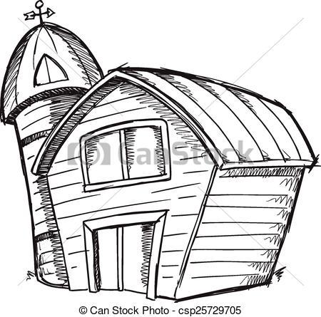 450x445 Doodle Sketch Barn Vector Art Doodle Sketch Barn Vector