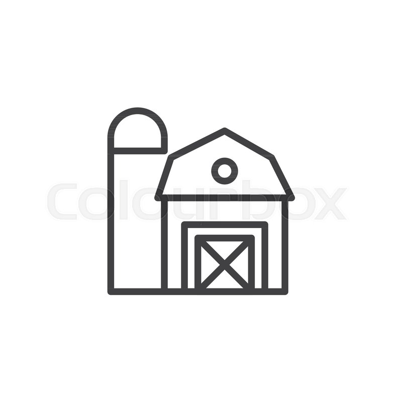 800x800 Farm Barn Outline Icon Linear Style Stock Vector Colourbox