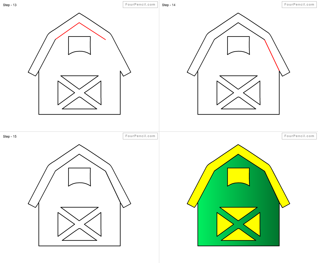 1250x1032 How To Draw Barn For Kids Step