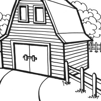 336x336 Old Barn Coloring Pages Owl Printable And Farm Animal