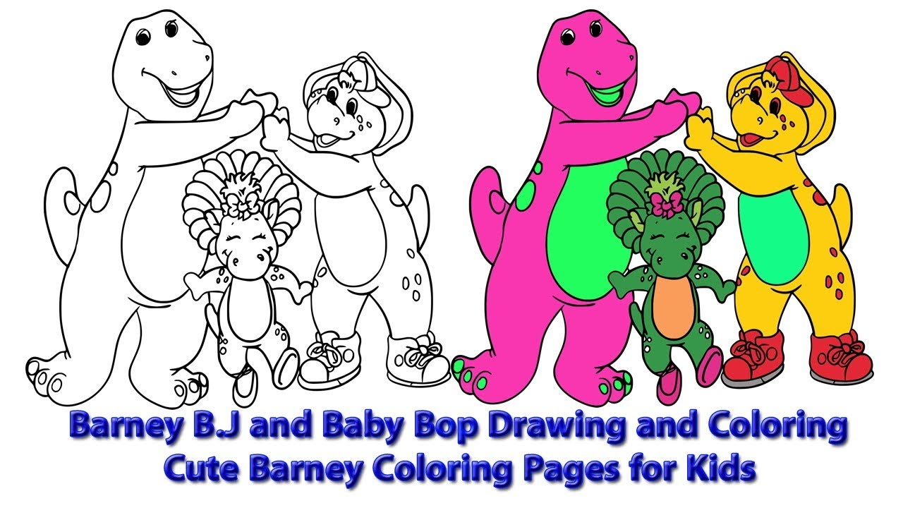 1280x720 the barney bj and baby bop drawing and coloring cute barney