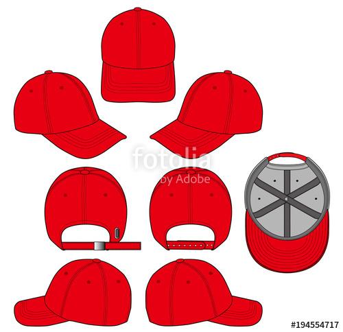 500x484 Baseball Cap Fashion Flat Technical Drawing Template Stock Image