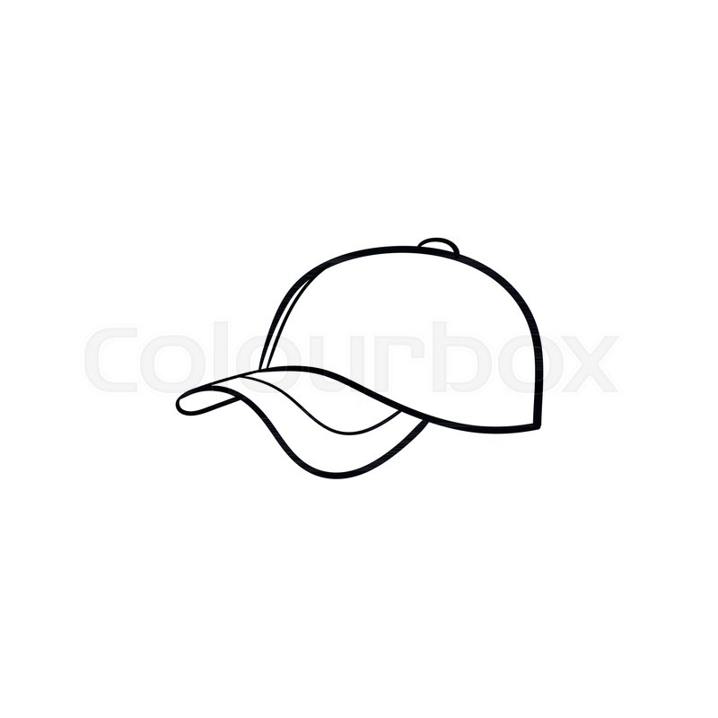 800x800 Baseball Hat Hand Drawn Outline Doodle Stock Vector Colourbox