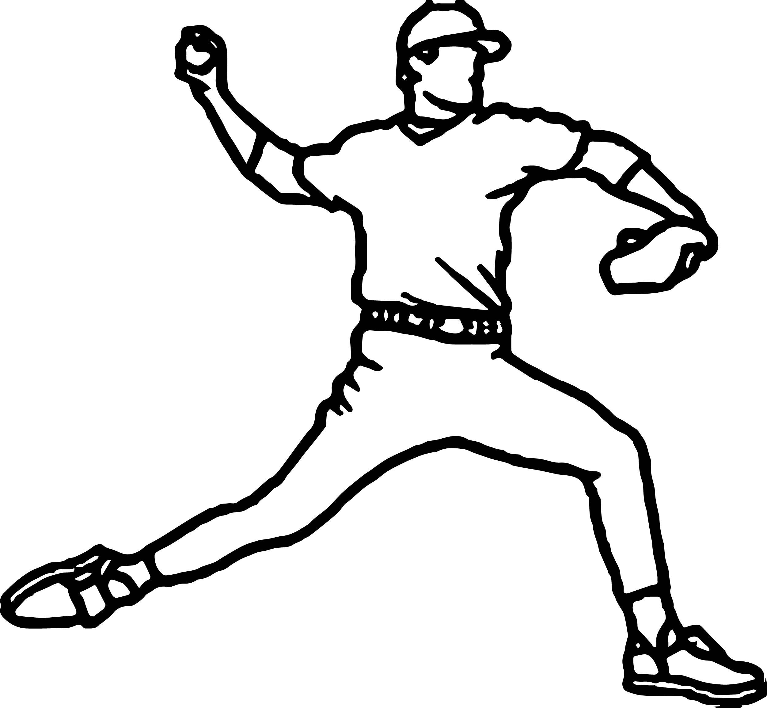 2503x2310 Baseball Pitcher Playing Baseball Coloring