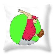 180x180 Baseball Pitcher Throwing Ball Circle Drawing Digital Art