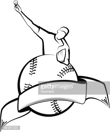 379x452 Baseball Pitcher With Ball Banner Premium Clipart