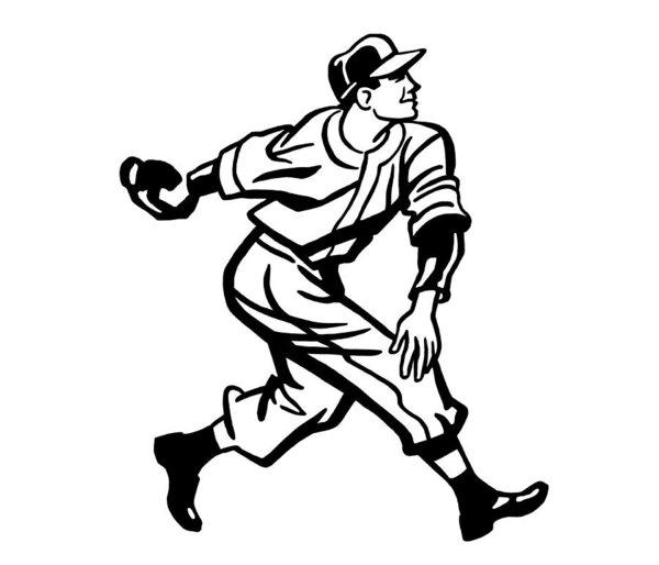 600x514 Baseball Player Art Print