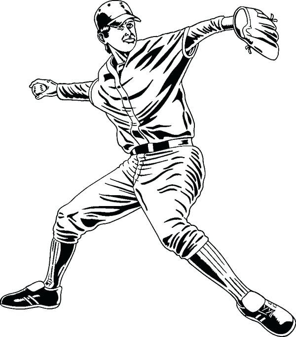 600x682 Baseball Players Drawing At Free For Personal Use Bat Coloring